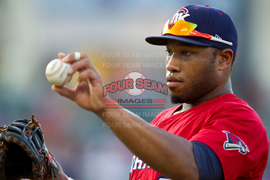Oklahoma City RedHawks first baseman Jon Singleton (23) in action during the Pacific Coast League baseball game against the Round Rock Express on July 9, 2013 at the Dell Diamond in Round Rock, Texas. Round Rock defeated Oklahoma City 11-8. (Andrew Woolley/Four Seam Images)