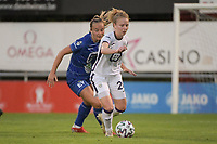 Charlotte Tison (20) of Anderlecht and Lobke Loonen (19) of AA Gent Ladies pictured during a female soccer game between RSC Anderlecht Dames and AA Gent Ladies  on the fourth matchday of the 2021 - 2022 season of Belgian Womens Super League , friday 10 th of September 2021 in Overijse , Belgium . PHOTO SPORTPIX | DIRK VUYLSTEKE