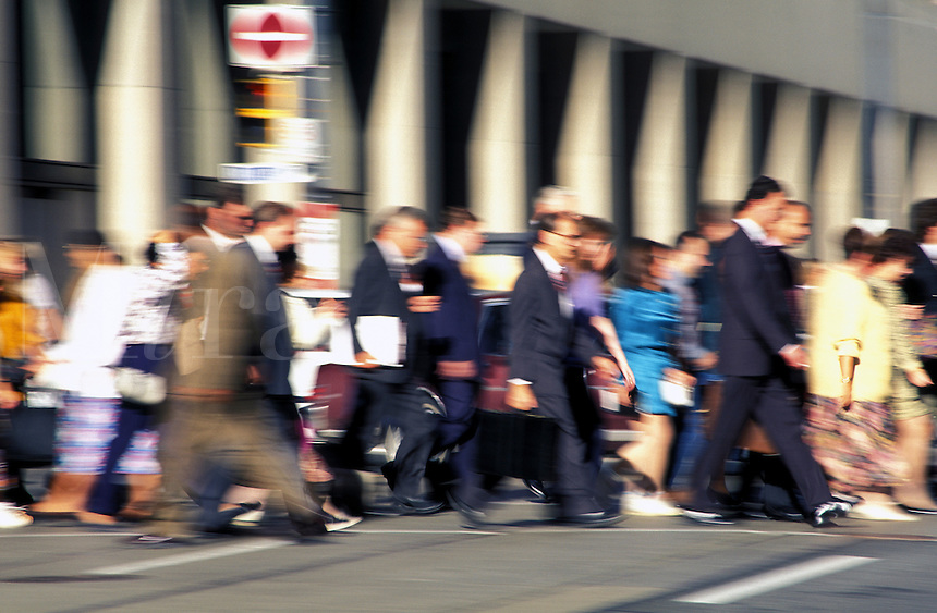 Canada, Ontario, Toronto. Group of people crossing the street