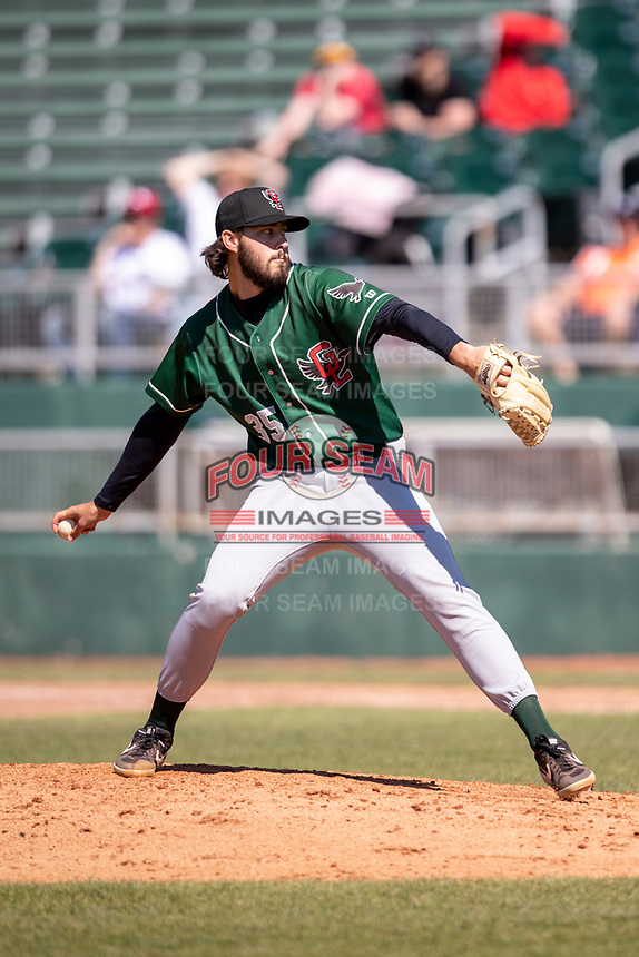 Great Lakes Loons pitcher Morgan Cooper (35) delivers a pitch to the plate on May 30, 2021 against the Lansing Lugnuts at Jackson Field in Lansing, Michigan. (Andrew Woolley/Four Seam Images)