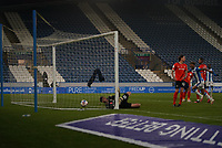 7th November 2020 The John Smiths Stadium, Huddersfield, Yorkshire, England; English Football League Championship Football, Huddersfield Town versus Luton Town; Fraizer Campbell of Huddersfield Town celebrates seeing the ball hit the back of the net in the 60th min from Carel Eiting of Huddersfield Town too make it 1-1