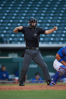 Home plate umpire Michael Corbett calls a batter out on strikes during an Arizona League game between the AZL Padres 1 and the AZL Cubs 1 on July 5, 2019 at Sloan Park in Mesa, Arizona. The AZL Cubs 1 defeated the AZL Padres 1 9-3. (Zachary Lucy/Four Seam Images)