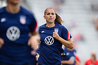 ORLANDO CITY, FL - FEBRUARY 21: Alex Morgan #13 of the USWNT warms up before a game between Brazil and USWNT at Exploria Stadium on February 21, 2021 in Orlando City, Florida.