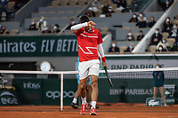 11th October 2020, Roland Garros, Paris, France; French Open tennis, mens singles final 2020; Novak DJOKOVIC of Serbia frustrated against Rafael NADAL of Spain in the mens final match during the French Open tennis tournament