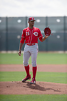 Cincinnati Reds starting pitcher Hunter Greene (21) during a Minor league Spring Training game against the Los Angeles Angels at the Cincinnati Reds Training Complex on March 15, 2018 in Goodyear, Arizona. (Zachary Lucy/Four Seam Images)