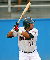 25 June 2007: Offilio Castro of the Potomac Nationals, Class A affiliate of the Washington Nationals, vs. the Frederick Keys, a Baltimore Orioles affiliate, at Pfitzner Stadium, Woodbridge, Va.  Photo by:  Tom Priddy/Four Seam Images