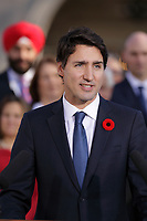 Justin Trudeau, Canada new  Prime Minister adress the medias  on the grounds of Rideau Hall in Ottawa, Ontario, on Wednesday, November 4, 2015..<br /> <br /> PHOTO : Raffi Kirdi<br /> - Agence Quebec Presse