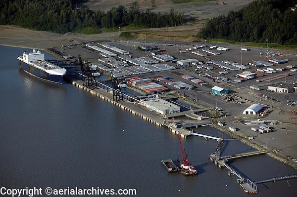 aerial above Port of Anchorage, Alaska