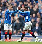 05.05.2019 Rangers v Hibs: Jermain Defoe celebrates with provider Steven Davis
