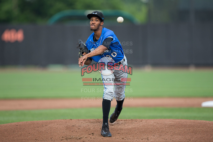 Hudson Valley Renegades starting pitcher Resly Linares (30) delivers a pitch to the plate against the Aberdeen IronBirds at Leidos Field at Ripken Stadium on July 27, 2017 in Aberdeen, Maryland.  The Renegades defeated the IronBirds 2-0 in game one of a double-header.  (Brian Westerholt/Four Seam Images)