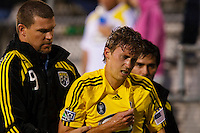 27 MAY 2009: #16 Brian Carroll of the Columbus Crew mid fielder is injured during the San Jose Earthquakes at Columbus Crew MLS game in Columbus, Ohio on May 27, 2009.