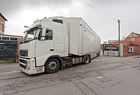 Pictured: A television truck manouevres inside Rodney Parade in Newport, Wales, UK. Thursday 14 February 209<br /> Re: The city of Newport is preparing to host the FA Cup match between Newport County and Manchester City at Rodney Parade, Newport, Wales, UK.