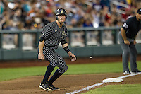 Vanderbilt Commodores outfielder Rhett Wiseman (8) takes his lead off of third base during the NCAA College baseball World Series against the Cal State Fullerton Titans on June 14, 2015 at TD Ameritrade Park in Omaha, Nebraska. The Titans were leading 3-0 in the bottom of the sixth inning when the game was suspended by rain. (Andrew Woolley/Four Seam Images)