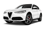 Stock pictures of low aggressive front three quarter view of 2018 Alfa Romeo Stelvio Base 5 Door SUV