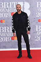 Marvin Humes<br /> arriving for the BRIT Awards 2019 at the O2 Arena, London<br /> <br /> ©Ash Knotek  D3482  20/02/2019<br /> <br /> *images for editorial use only*
