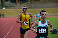 Julian Oakley (right) beats Hamish Carson in the men's 1500m. 2021 Capital Classic athletics at Newtown Park in Wellington, New Zealand on Saturday, 20 February 2021. Photo: Dave Lintott / lintottphoto.co.nz