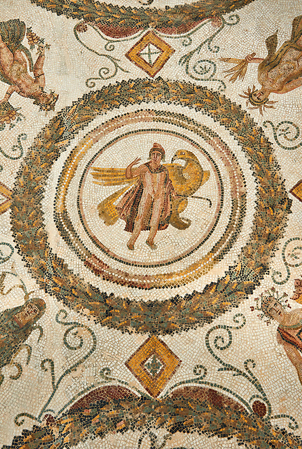 Picture of a Roman mosaics design depicting the Abduction of Ganymede, from the ancient Roman city of Thysdrus. End od 2nd century AD, Sollertiana Domus. El Djem Archaeological Museum, El Djem, Tunisia.