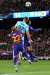 UEFA Champions League 2019/2020.<br /> Matchday 4.<br /> FC Barcelona vs SK Slavia Praha: 0-0.<br /> Arturo Vidal, Tomas Soucek & Gerard Pique.