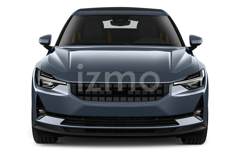 Car photography straight front view of a 2020 Polestar Polestar-2 Pilot-Plus 5 Door Hatchback Front View