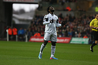 Wednesday, 01 January 2014<br /> Pictured: A very frustrated Wilfried Bony of Swansea after missing yet another opportunity to score.<br /> Re: Barclay's Premier League, Swansea City FC v Manchester City at the Liberty Stadium, south Wales.