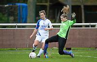 Finale Beker van West-Vlaanderen Vrouwen FC Knokke - SK Opex Girls Oostende :  duel tussen Katinka Dubois (links) en Tiffany Buysens (rechts) <br /> foto DAVID CATRY | Sportpix.be
