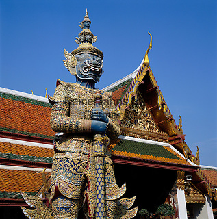 Thailand, Central Thailand, Bangkok: The Grand Palace Yaksha (close-up) | Thailand, Zentralthailand, Bangkok: Der Grosse Palast, Detail