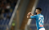 Calcio, Serie A: Roma, stadio Olimpico, 14 ottobre 2017.<br /> Napoli's Lorenzo Insigne celebrates after scoring during the Italian Serie A football match between Roma and Napoli at Rome's Olympic stadium, October14, 2017.<br /> UPDATE IMAGES PRESS/Isabella Bonotto