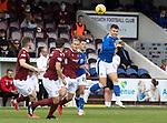 Arbroath v St Johnstone…15.08.21  Gayfield Park      Premier Sports Cup<br />Glenn Middleton gets above Harrison Clark<br />Picture by Graeme Hart.<br />Copyright Perthshire Picture Agency<br />Tel: 01738 623350  Mobile: 07990 594431