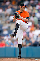 Starting pitcher Chris Tillman #22 of the Norfolk Tides in action versus the Toledo Mudhens at Harbor Park June 7, 2009 in Norfolk, Virginia. (Photo by Brian Westerholt / Four Seam Images)