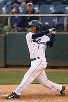 P.J. Jones (1) of the Everett Aquasox at bat during a game against the Eugene Emeralds at Everett Memorial Stadium in Everett, Washington.  Eugene defeated Everett 7-5. (Ronnie Allen/Four Seam Images)