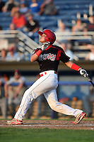 Batavia Muckdogs catcher Rodrigo Vigil (27) at bat during a game against the Connecticut Tigers on July 21, 2014 at Dwyer Stadium in Batavia, New York.  Connecticut defeated Batavia 12-3.  (Mike Janes/Four Seam Images)