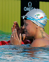 Italy's Federica Pellegrini reacts after setting the new world record clocking 1.52.98 in the Women's 200m Freestyle, at the Swimming World Championships in Rome, 29 July 2009..UPDATE IMAGES PRESS/Riccardo De Luca