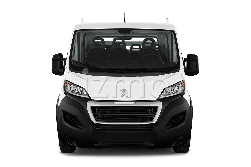 Car photography straight front view of a 2019 Peugeot Boxer PRO-SR 4 Door Chassis Cab Front View