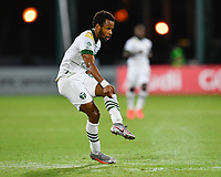 LAKE BUENA VISTA, FL - AUGUST 01: Jeremy Ebobisse #17 of the Portland Timbers watches his shot during a game between Portland Timbers and New York City FC at ESPN Wide World of Sports on August 01, 2020 in Lake Buena Vista, Florida.
