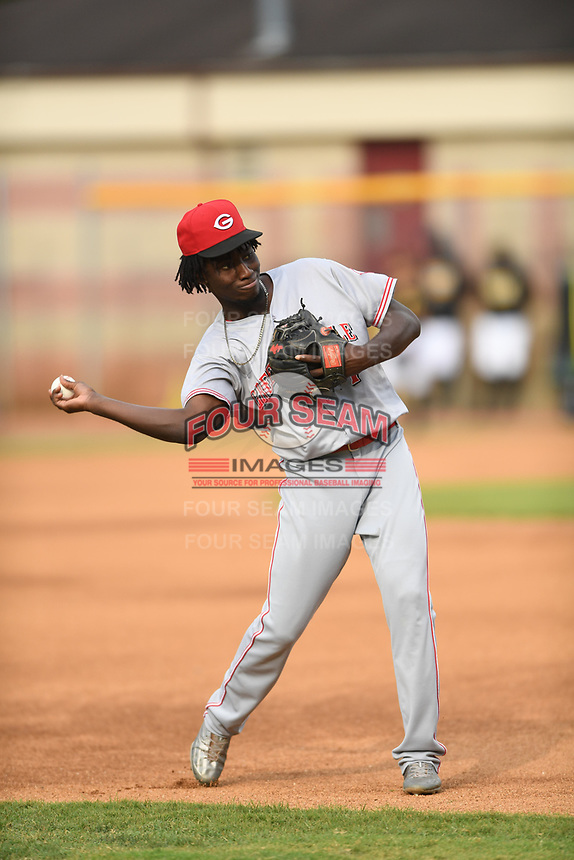 Danielito Remy (7) of the Greeneville Reds warms up prior to a game against the Bristol Pirates at Boyce Cox Field on July 31, 2019 in Bristol, Virginia. The Pirates defeated the Reds 13-3. (Tracy Proffitt/Four Seam Images)