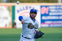 Rancho Cucamonga Quakes starting pitcher Jordan Sheffield (11) warms up in the outfield prior to the game against the Inland Empire 66ers at LoanMart Field on April 12, 2018 in Rancho Cucamonga, California. The 66ers defeated the Quakes 5-4.  (Donn Parris/Four Seam Images)