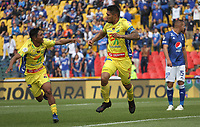 BOGOTÁ - COLOMBIA, 16-02-2019:Luis Cardoza  jugador del Atletico Huila  celebra después de anotar un gol a Millonarios  durante partido por la fecha 5 de la Liga Águila I 2019 jugado en el estadio Nemesio Camacho El Campín de la ciudad de Bogotá. /Luis Cardoza  player of Atletico Huila  celebrates after scoring a goal agaisnt of Millonarios  during the match for the date 5 of the Liga Aguila I 2019 played at the Nemesio Camacho El Campin Stadium in Bogota city. Photo: VizzorImage / Felipe Caicedo / Staff.