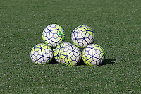 Rochester, NY - Friday May 27, 2016: Soccer balls. The Western New York Flash defeated the Boston Breakers 4-0 during a regular season National Women's Soccer League (NWSL) match at Rochester Rhinos Stadium.