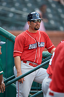 Lakewood BlueClaws coach Milver Reyes (28) during a game against the Greensboro Grasshoppers on June 10, 2018 at First National Bank Field in Greensboro, North Carolina.  Lakewood defeated Greensboro 2-0.  (Mike Janes/Four Seam Images)