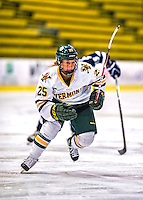 2 February 2013: University of Vermont Catamount defender Megan Dalbec, a Junior from Champlin, MN, in action against the University of New Hampshire Wildcats at Gutterson Fieldhouse in Burlington, Vermont. The Lady Wildcats defeated the Lady Catamounts 4-2 in Hockey East play. Mandatory Credit: Ed Wolfstein Photo