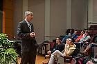Feb. 16, 2015; Executive Vice President John Affleck-Gravesspeaks at the Undergraduate Town Hall Event held in DeBartolo. (Photo by Barbara Johnston/University of Notre Dame)