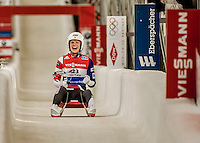 5 December 2015: Summer Britcher, competing for the United States of America, crosses the finish line on her second run of the Viessmann World Cup Women's Luge, with a combined 2-run time of 1:28.221 and a 3rd place result at the Olympic Sports Track in Lake Placid, New York, USA. Mandatory Credit: Ed Wolfstein Photo *** RAW (NEF) Image File Available ***