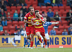 St Johnstone v Partick Thistle....17.10.15  SPFL     McDiarmid Park, Perth<br /> Steven Lawless celebrates his goal with Stuart Bannigan<br /> Picture by Graeme Hart.<br /> Copyright Perthshire Picture Agency<br /> Tel: 01738 623350  Mobile: 07990 594431