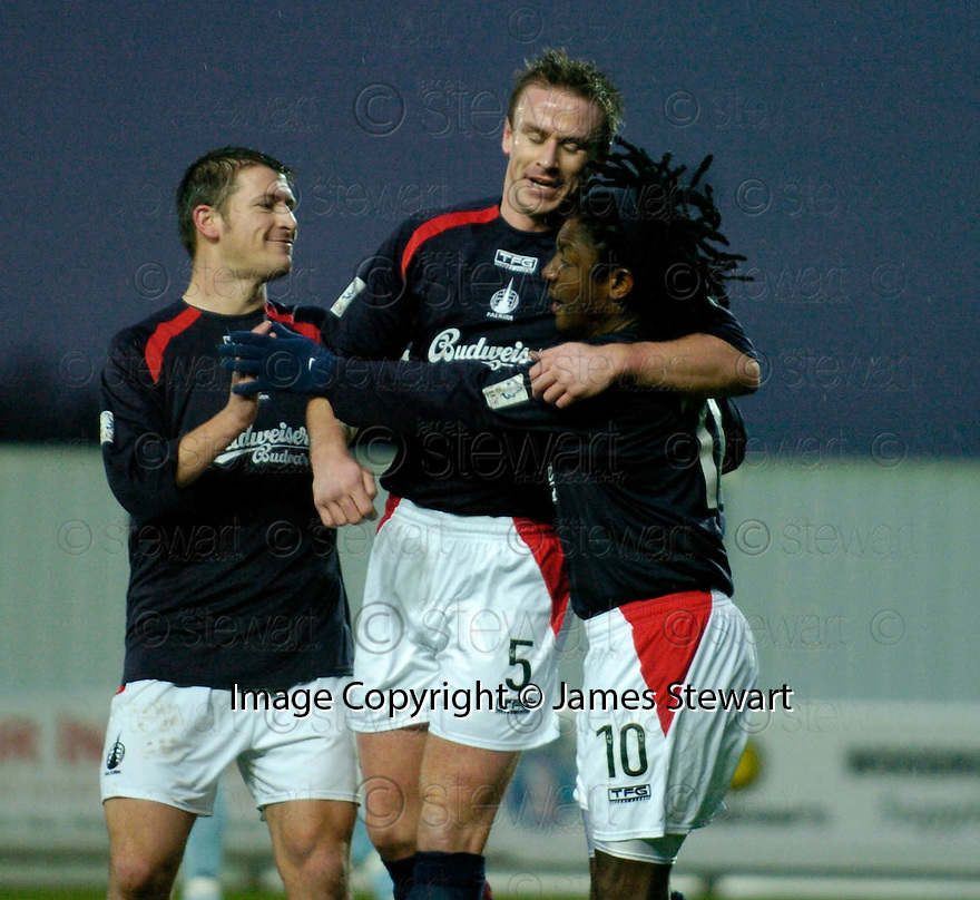 01/01/2005  Copyright Pic : James Stewart.File Name : jspa02_falkirk_v_raith-rovers.RUSSELL LATAPY IS CONGRATULATED BY MARK CAMPBELL AND NEIL SCALLY AFTER SCORING FALKIRK'S FIRST....Payments to :.James Stewart Photo Agency 19 Carronlea Drive, Falkirk. FK2 8DN      Vat Reg No. 607 6932 25.Office     : +44 (0)1324 570906     .Mobile   : +44 (0)7721 416997.Fax         : +44 (0)1324 570906.E-mail  :  jim@jspa.co.uk.If you require further information then contact Jim Stewart on any of the numbers above.........