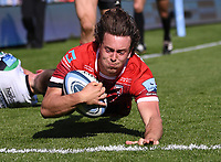 24th April 2021; Kingsholm Stadium, Gloucester, Gloucestershire, England; English Premiership Rugby, Gloucester versus Newcastle Falcons; Lloyd Evans of Gloucester scores Gloucester's fourth try