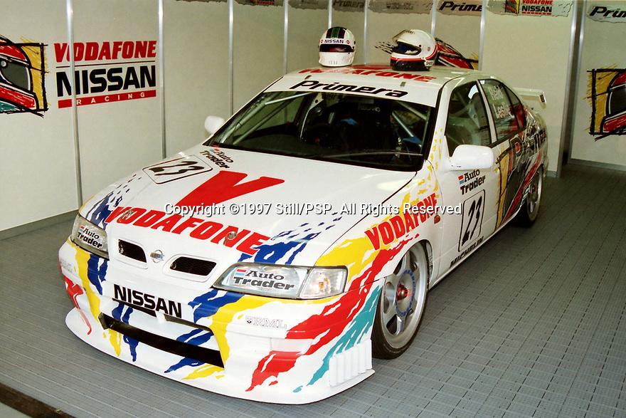 1997 British Touring Car Championship media day. Vodafone Nissan Racing. Nissan Primera.