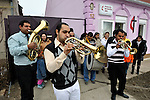 """THIS PHOTO IS AVAILABLE AS A PRINT OR FOR PERSONAL USE. CLICK ON """"ADD TO CART"""" TO SEE PRICING OPTIONS.   The church band plays a traditional Roma song outside the United Methodist Roma congregation in Jabuka, Serbia.."""