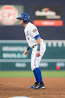 Taylor Motter (11) of the Durham Bulls takes his lead off of first base against the Indianapolis Indians at Durham Bulls Athletic Park on August 4, 2015 in Durham, North Carolina.  The Indians defeated the Bulls 5-1.  (Brian Westerholt/Four Seam Images)