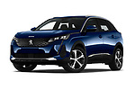 Stock pictures of low aggressive front three quarter view of 2021 Peugeot 3008 Allure 5 Door SUV Low Aggressive