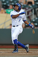 Omaha Storm Chasers shortstop Tony Abreu (6) swings during the game against the Reno Aces at Werner Park on August 3, 2012 in Omaha, Nebraska.(Dennis Hubbard/Four Seam Images)